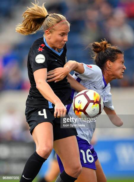 Chicago Red Stars's Alyssa Mautz and Orlando Pride's Carson Pickett battle for the header on May 2 2018 at Toyota Park in Bridgeview Illinois