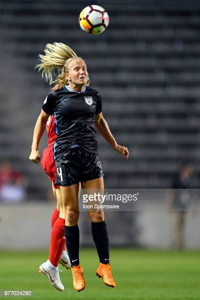 Chicago Red Stars's Alyssa Mautz heads the ball against the Portland Thorns FC on June 16 2018 at Toyota Park in Bridgeview Illinois