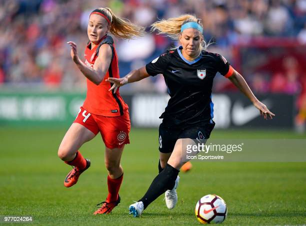 Chicago Red Stars's Julie Ertz and Portland Thorns FC's Adrianna Franch battle for the ball on June 16 2018 at Toyota Park in Bridgeview Illinois