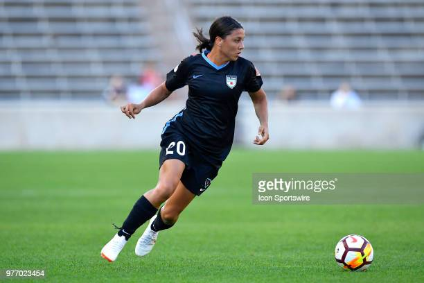 Chicago Red Stars's Sam Kerr handles the ball against the Portland Thorns FC on June 16 2018 at Toyota Park in Bridgeview Illinois