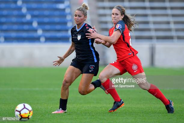 Chicago Red Stars's Sarah Gorden and Portland Thorns FC's Mallory Weber battle for the ball on June 16 2018 at Toyota Park in Bridgeview Illinois