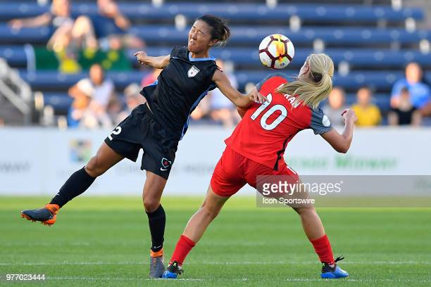 Chicago Red Stars's Yki Nagasato heads the ball against Portland Thorns FC's Lindsey Horan on June 16 2018 at Toyota Park in Bridgeview Illinois