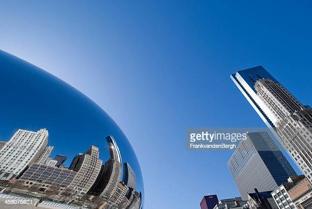 chicago reflections - jay pritzker pavillion stock photos and pictures