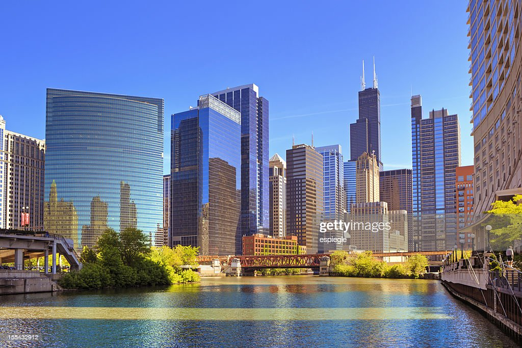 Chicago River and cityscape : Stock Photo
