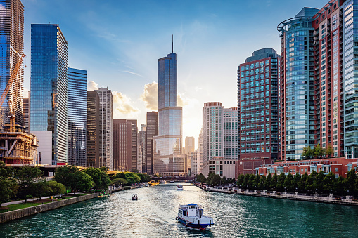 Chicago River Cityscape at Sunset 1065188752