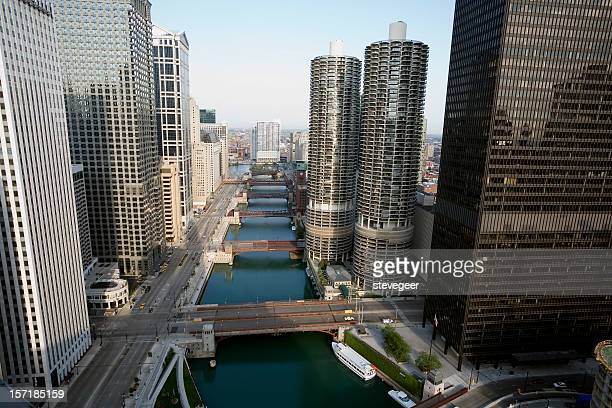 chicago river from above - chicago river stock pictures, royalty-free photos & images