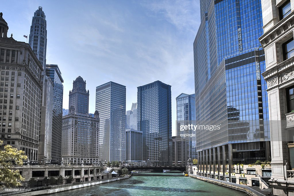 Chicago River from Michigan Avenue : Stock Photo
