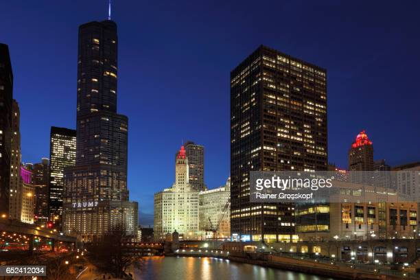 Chicago River, Trump Tower and Wrigley Building