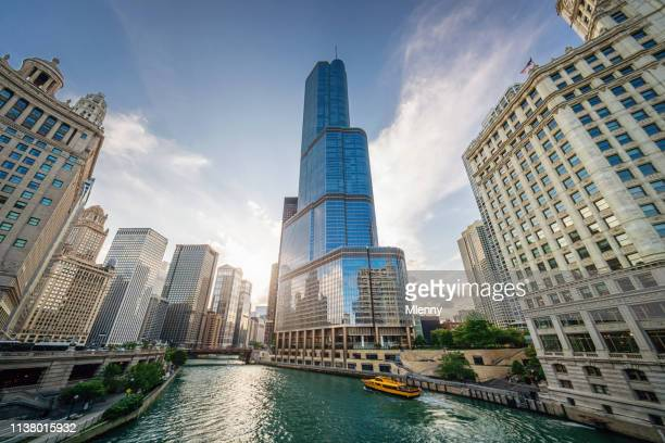 chicago river urban cityscape - trump international hotel & tower chicago stock pictures, royalty-free photos & images