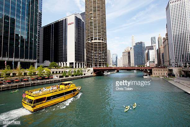 Chicago River with boats and kayaks