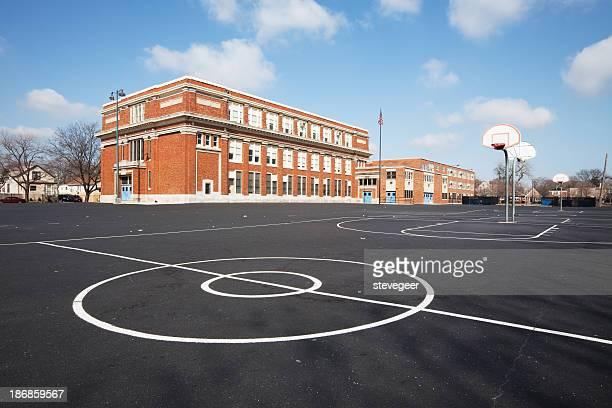 chicago school yard - school building stock pictures, royalty-free photos & images