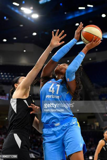 Chicago Sky center Alaina Coates shoots on Las Vegas Aces center JiSu Park on July 10 2018 at the Wintrust Arena in Chicago Illinois