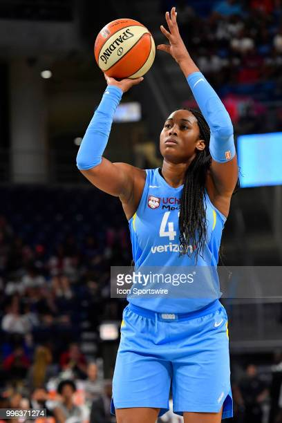 Chicago Sky center Alaina Coates shoots the ball against the Las Vegas Aces on July 10 2018 at the Wintrust Arena in Chicago Illinois