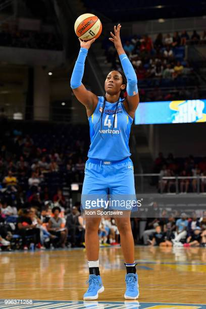 Chicago Sky center Alaina Coates shots the ball against the Las Vegas Aces on July 10 2018 at the Wintrust Arena in Chicago Illinois