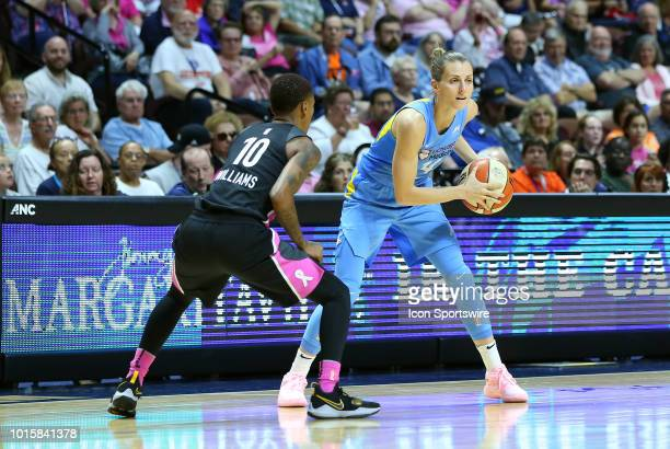 Chicago Sky guard Allie Quigley defended by Connecticut Sun guard Courtney Williams during a WNBA game between Chicago Sky and Connecticut Sun on...