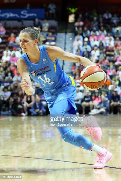 Chicago Sky guard Allie Quigley drives to the basket during a WNBA game between Chicago Sky and Connecticut Sun on August 12 at Mohegan Sun Arena in...