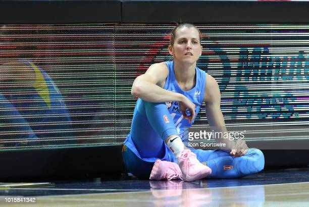 Chicago Sky guard Allie Quigley waits to enter the game at the scorers table during a WNBA game between Chicago Sky and Connecticut Sun on August 12...
