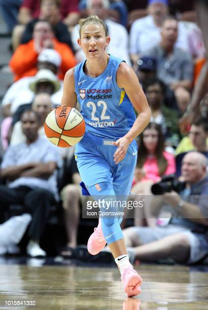 Chicago Sky guard Courtney Vandersloot fast breaks during a WNBA game between Chicago Sky and Connecticut Sun on August 12 at Mohegan Sun Arena in...
