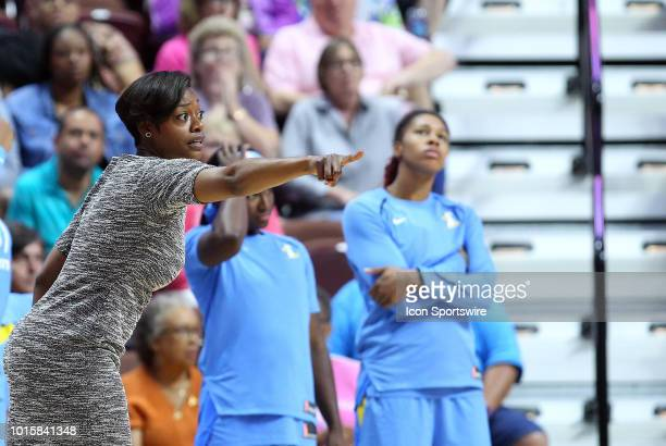 Chicago Sky head coach Amber Stocks directs her team during a WNBA game between Chicago Sky and Connecticut Sun on August 12 at Mohegan Sun Arena in...