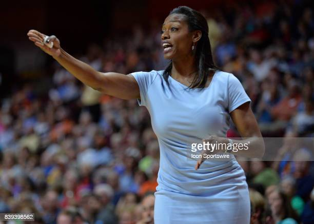 Chicago Sky Head Coach Amber Stocks during the game as the Connecticut Sun host the Chicago Sky on August 25 2017 at the Mohegan Sun Arena in...