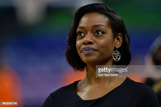 Chicago Sky head coach Amber Stocks looks on during the game against the Connecticut Sun on June 1 2018 at the Wintrust Arena in Chicago Illinois