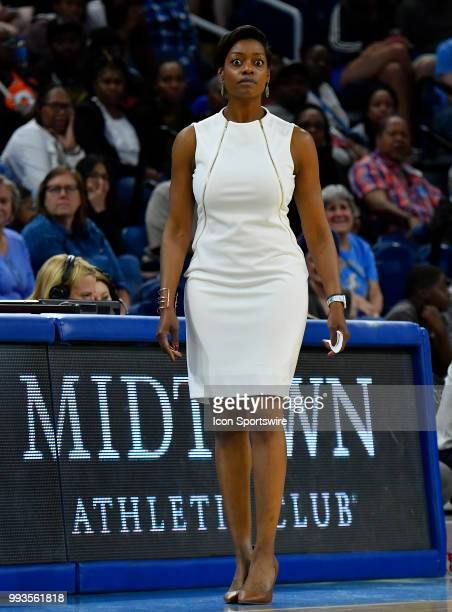 Chicago Sky head coach Amber Stocks looks on during the game against the Minnesota Lynx on July 7 2018 at the Wintrust Arena in Chicago Illinois