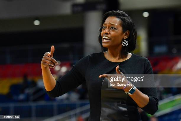 Chicago Sky head coach Amber Stocks reacts during the game against the Connecticut Sun on June 1 2018 at the Wintrust Arena in Chicago Illinois