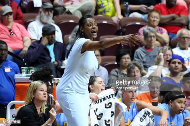 Chicago Sky head coach Amber Stocks reacts during the second half of an WNBA game between Chicago Sky and Connecticut Sun on August 25 at Mohegan Sun...