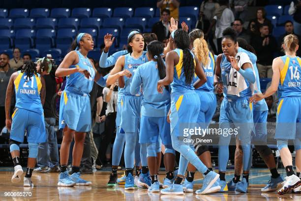 Chicago Sky high five after the game against the New York Liberty on May 6 2018 at the Wintrust Arena in Chicago Illinois NOTE TO USER User expressly...