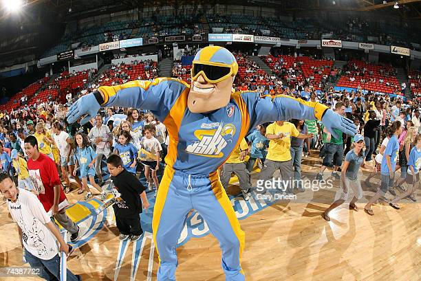 Chicago Sky mascot Sky Guy leads the Cha Cha Slide during a time out of the WNBA game against the Minnesota Lynx on June 3 2007 at the UIC Pavilion...