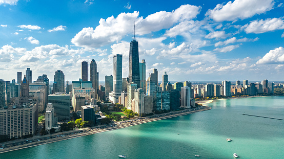 Chicago skyline aerial drone view from above, lake Michigan and city of Chicago downtown skyscrapers cityscape, Illinois, USA 1141114423