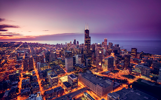 Chicago skyline aerial view at dusk 626062244
