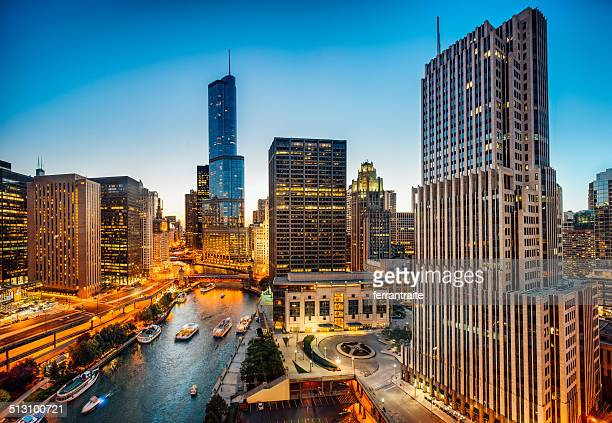 chicago skyline aerial view - chicago river stock pictures, royalty-free photos & images