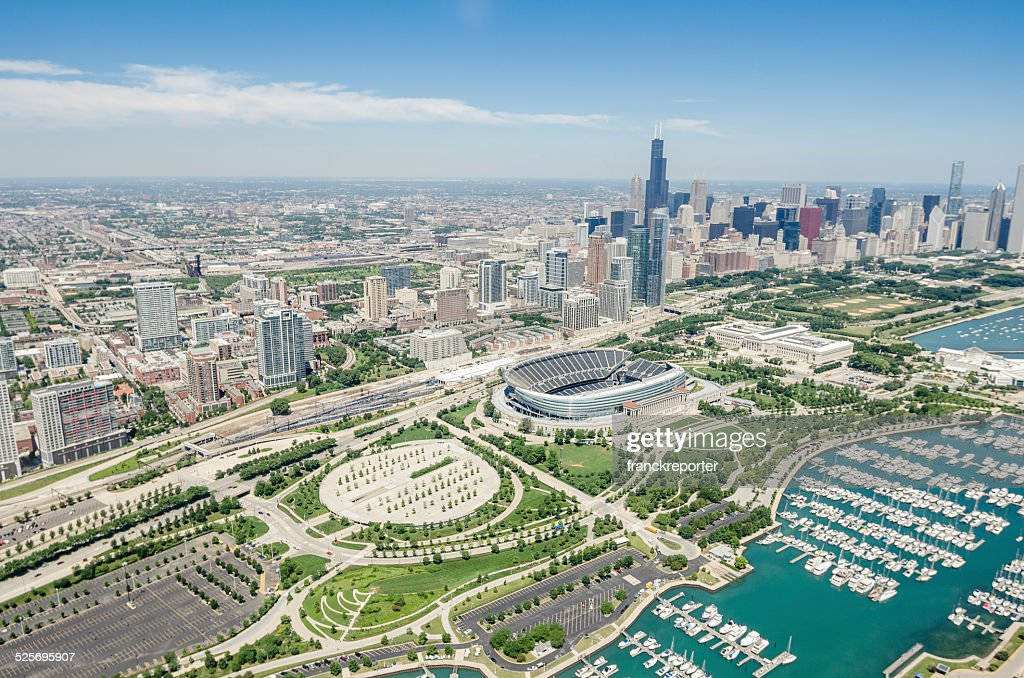 Chicago skyline aerial view : Stock Photo
