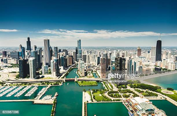 chicago skyline aerial view - chicago illinois stock photos and pictures