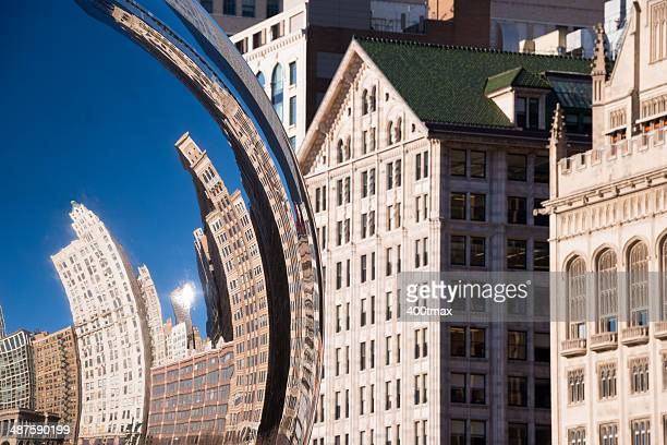 chicago skyline and bean - cloud gate stock photos and pictures