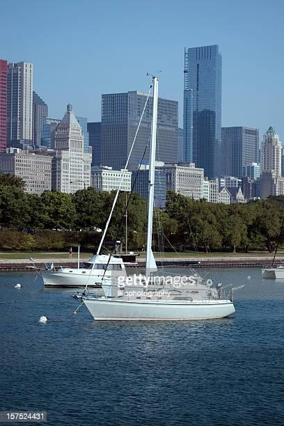 Chicago Skyline and Boats on Lake Michigan