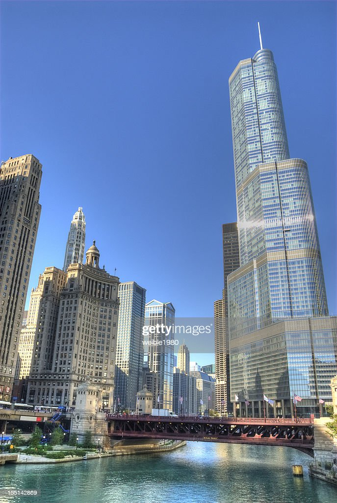 Chicago Skyline and River with Trump Tower : Stock Photo