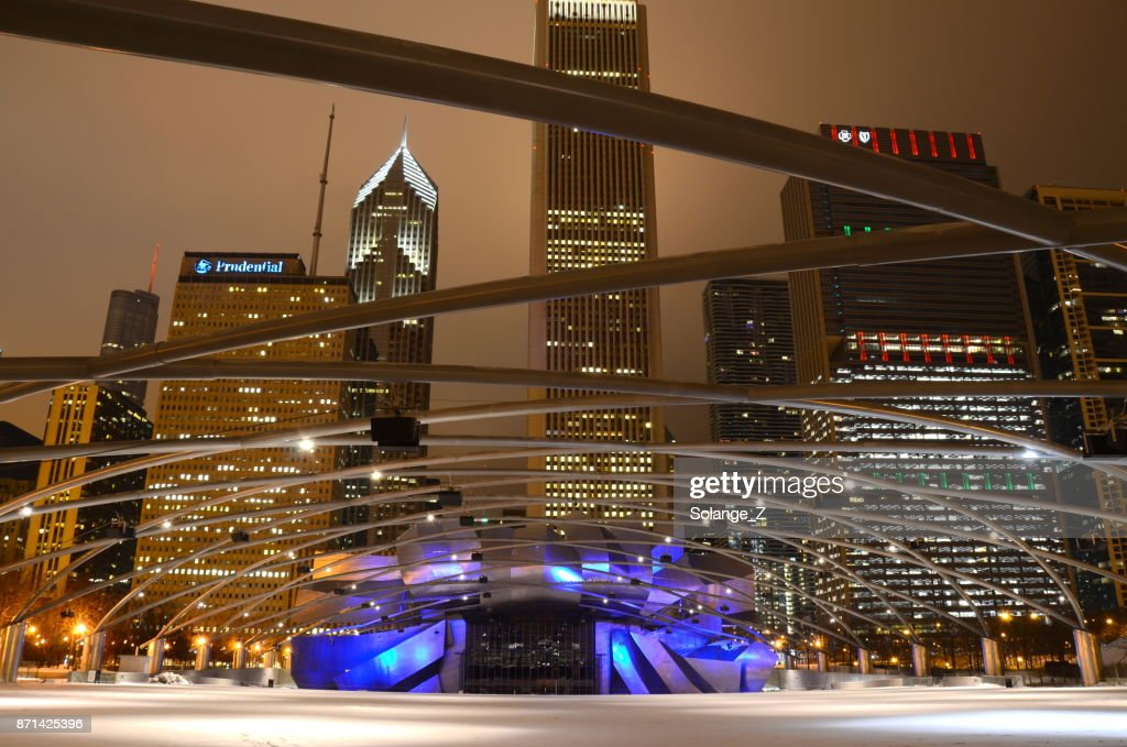 Christmas In Chicago Skyline.Chicago Skyline At Christmas Time High Res Stock Photo