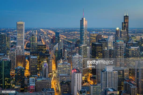 Chicago Skyline at Night Aerial View
