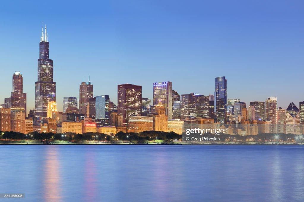 Chicago Skyline at Night : Stock Photo