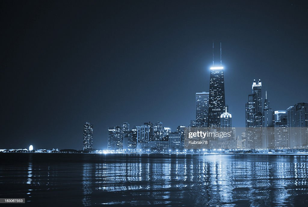 Chicago Skyline by night : Stock Photo