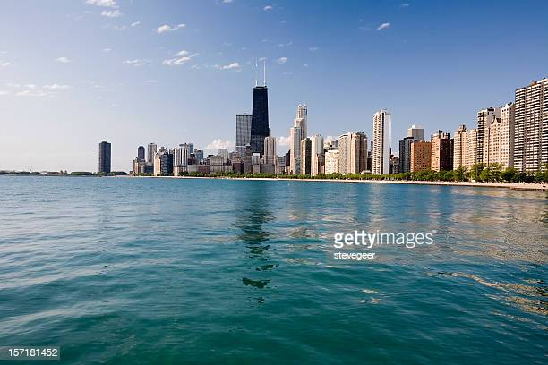 chicago skyline from the lake - hancock building chicago stock photos and pictures