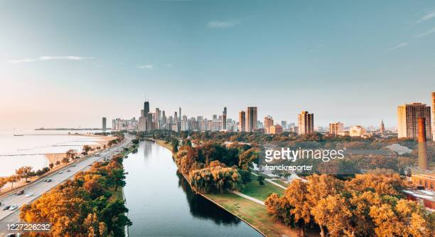 chicago skyline from the park - illinois stock pictures, royalty-free photos & images