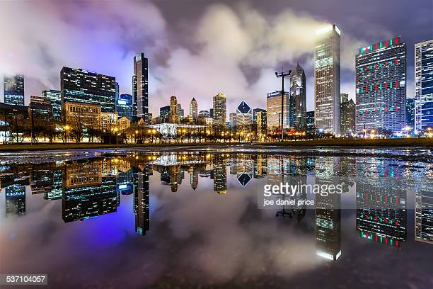 Chicago Skyline in a Puddle, Illinois, America