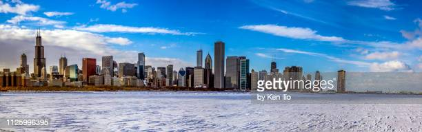 chicago skyline in winter - ken ilio stock photos and pictures