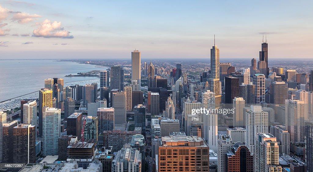 Chicago Skyline Last Sunlight : Stock Photo
