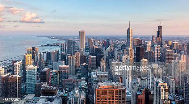 chicago skyline last sunlight - chicago stock pictures, royalty-free photos & images