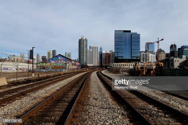 Chicago skyline looking East from the Fulton Market neighborhood in Chicago Illinois on February 2 2020