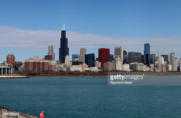 Chicago Skyline on April 4 2015 in Chicago Illinois